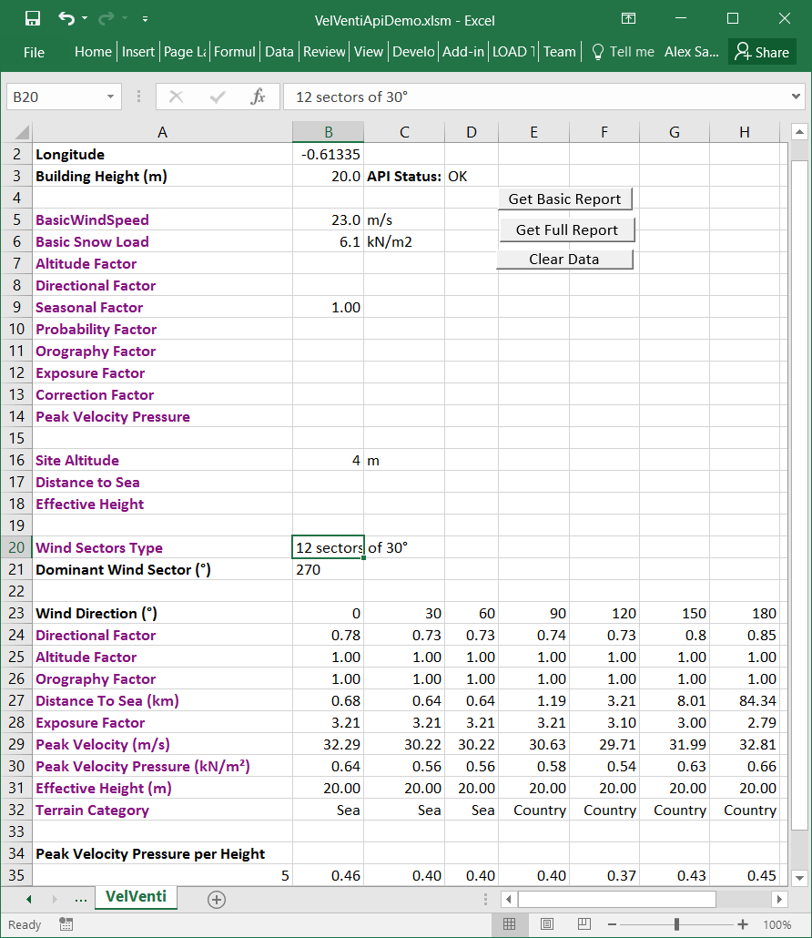 VelVenti Results Imported Directly Into Excel
