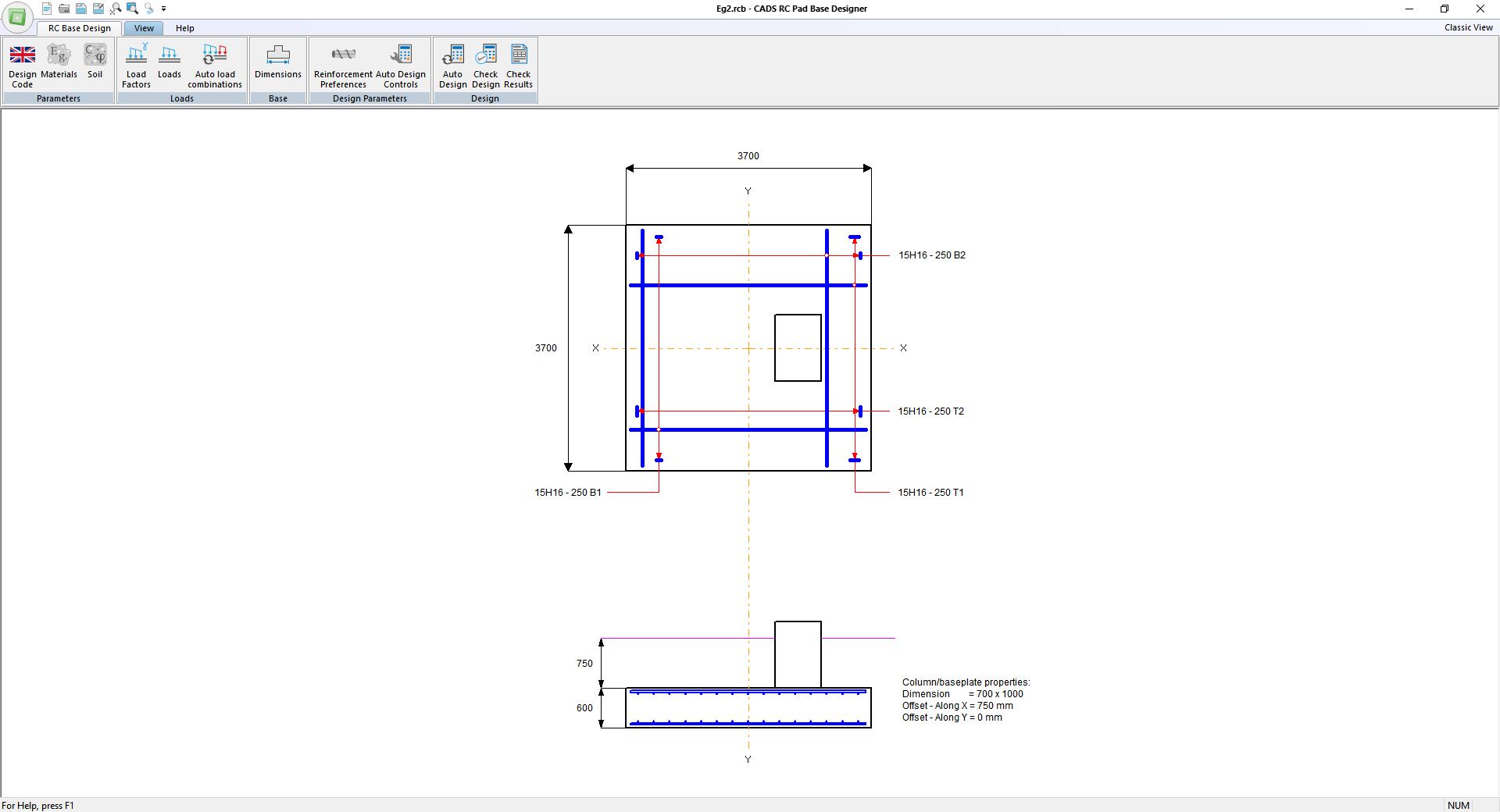 CADS RC Pad Base Designer - Main window layout
