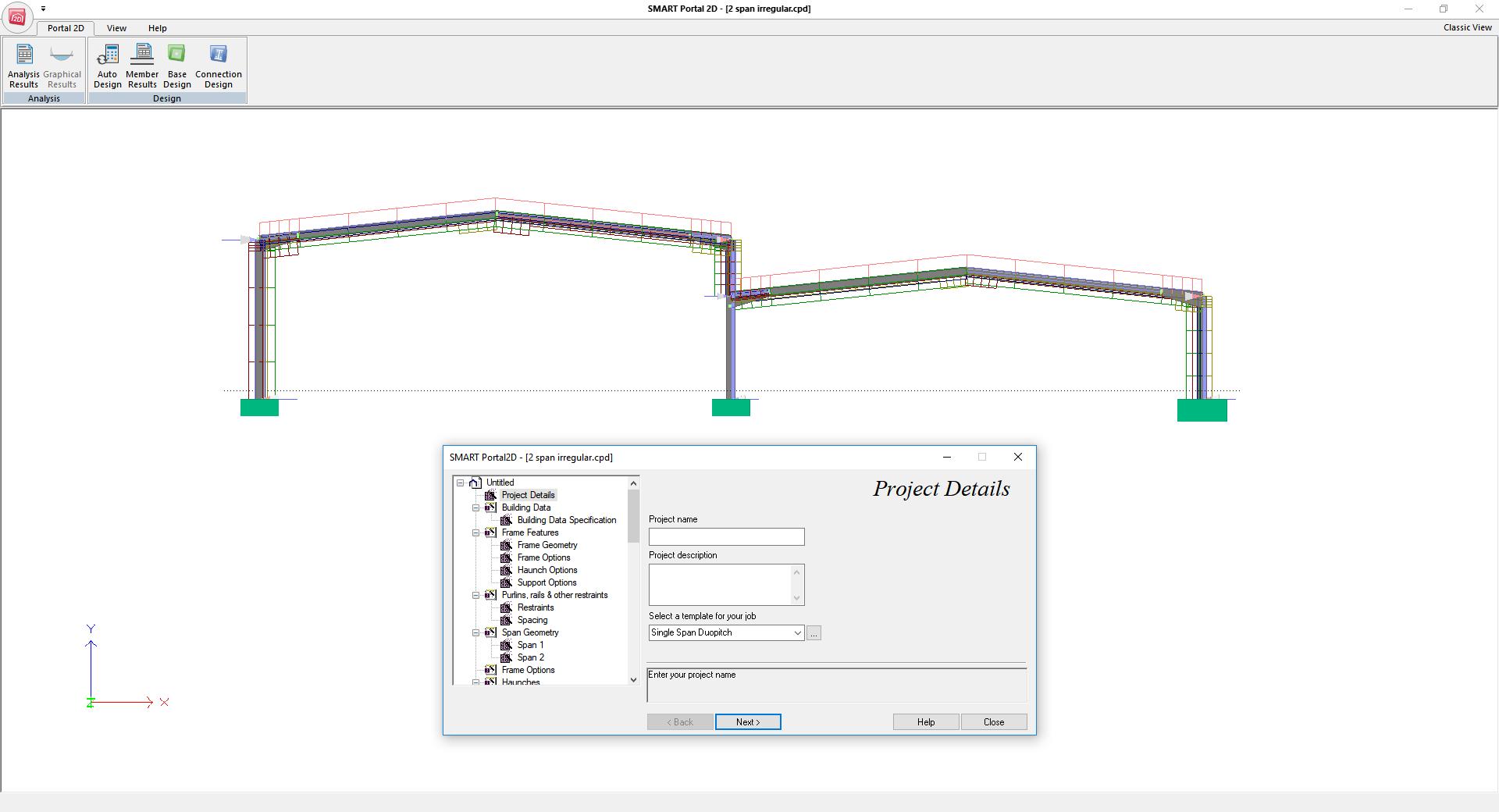 Smart portal 2d portal frame design cads uk for Picture window design layout