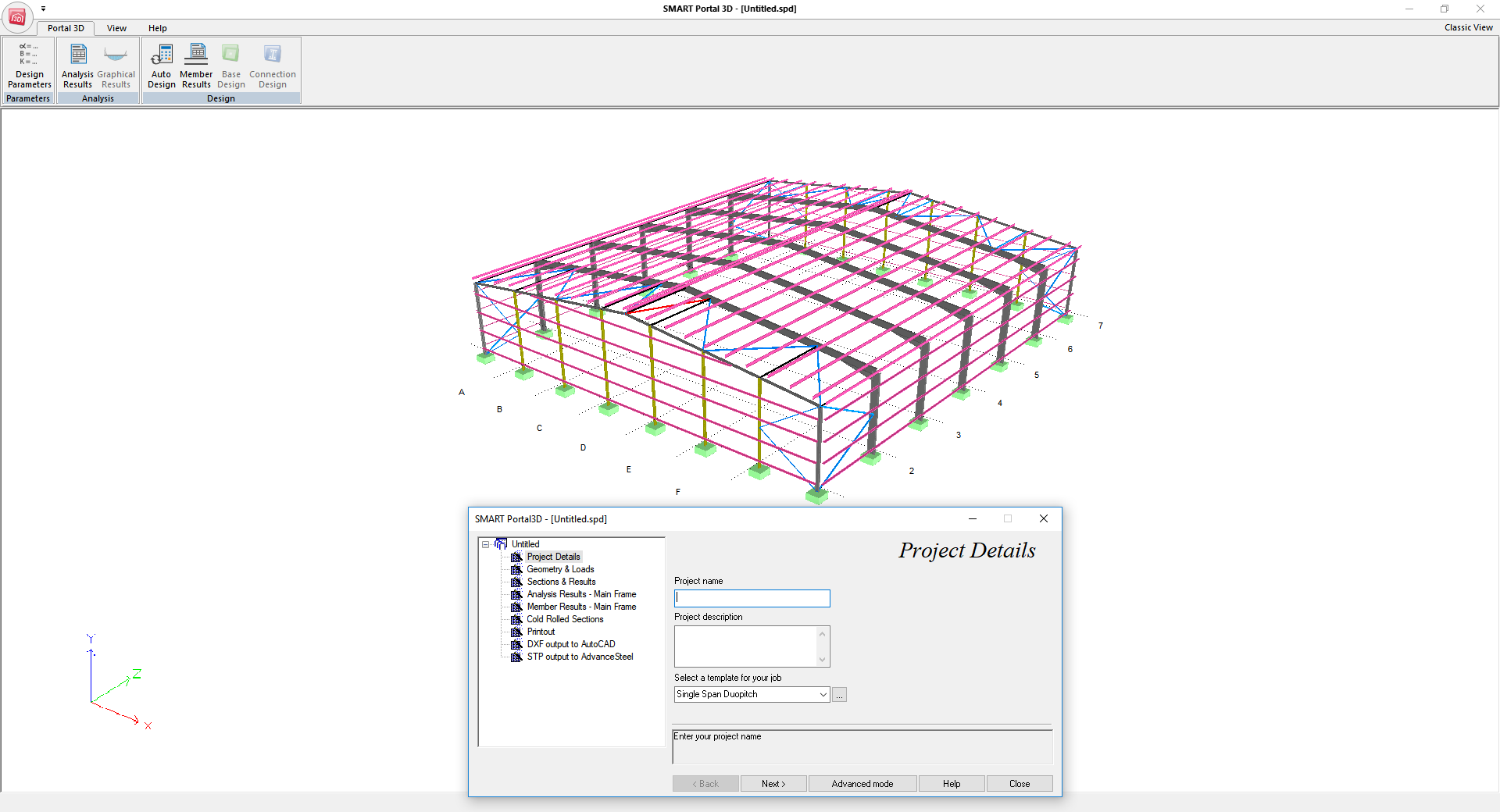 SMART Portal 3D - Main window layout