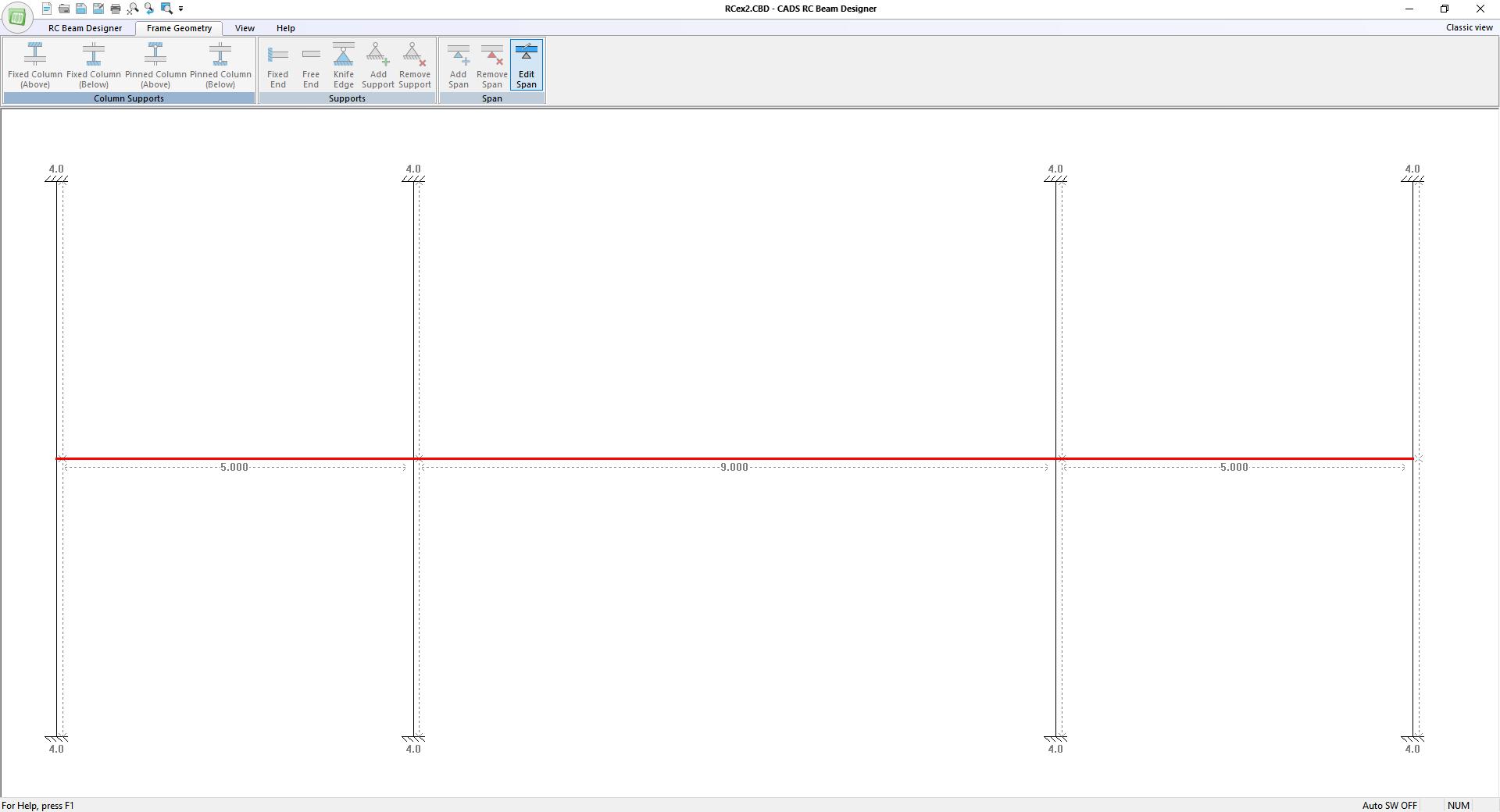 Frame geometry input