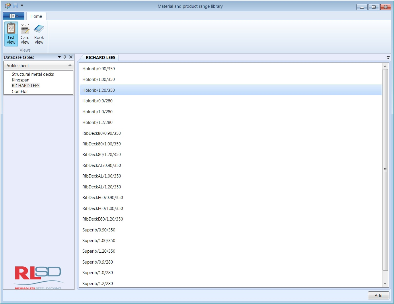 Database List View