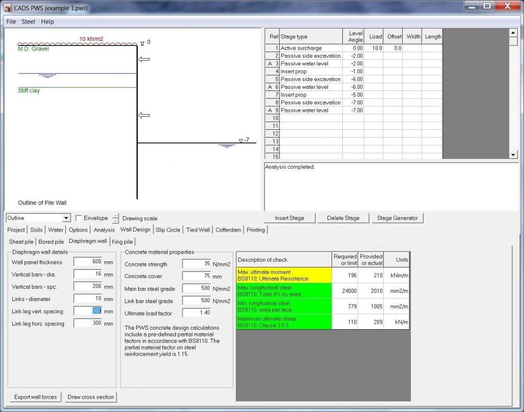 Design Calculation Of Diaphragm Wall Diaphragm Wall