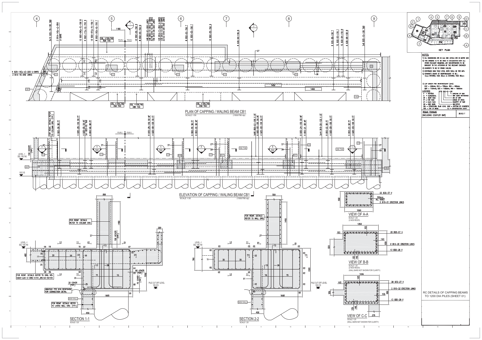 Cads Rc Sample Drawings Bar Bending Schedules Uk Wall Schematic Engineering Diagram Railways Capping Beam