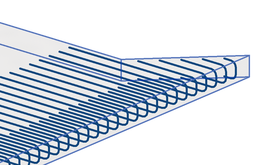 Rebar trimmed to an acute slab edge in 3D