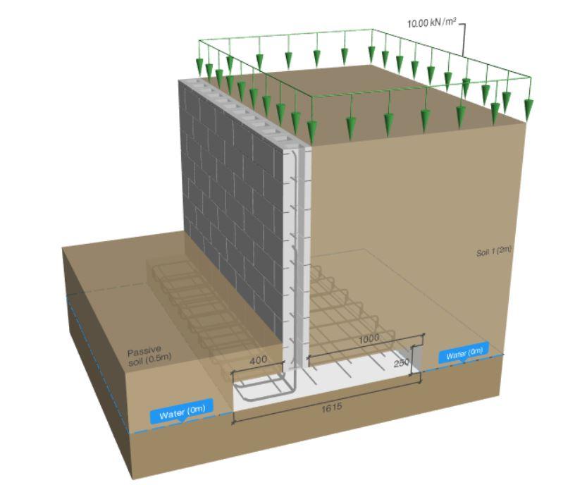 Reinforced Hollow Block Retaining Wall