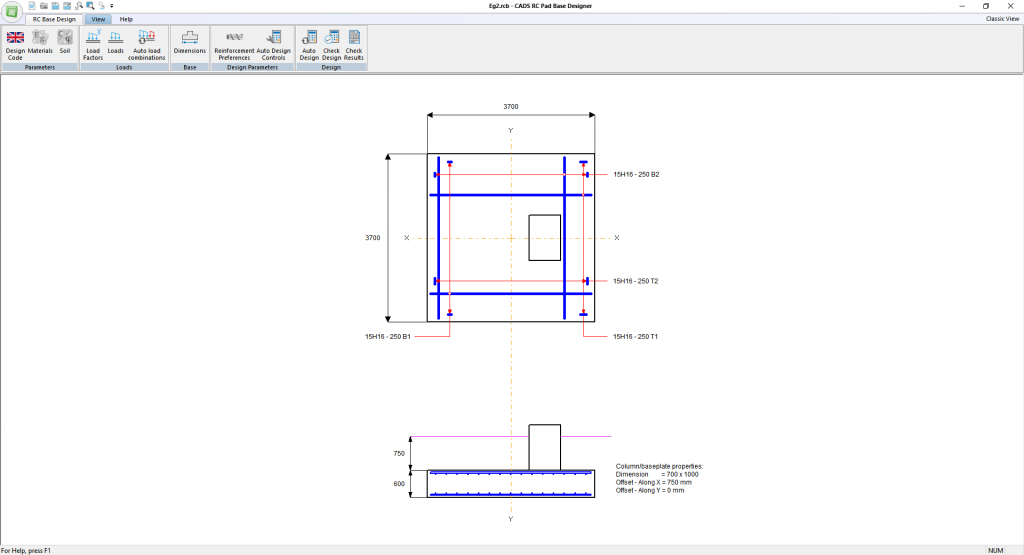 Reinforced Concrete Pad Base Designer - Main window layout