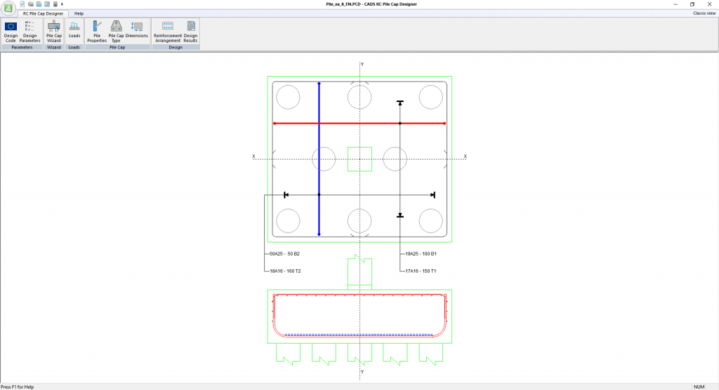 Reinforced Concrete Pile Cap Designer - main window layout