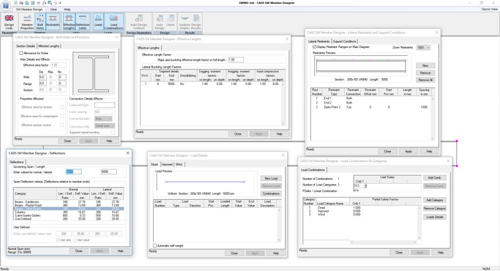 Steelworks Member Designer input parameters