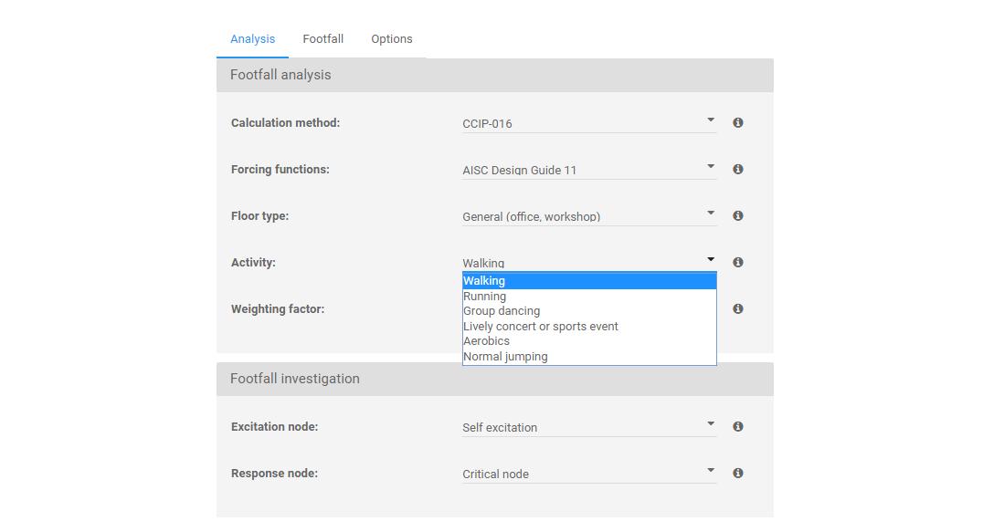 Analysis input options