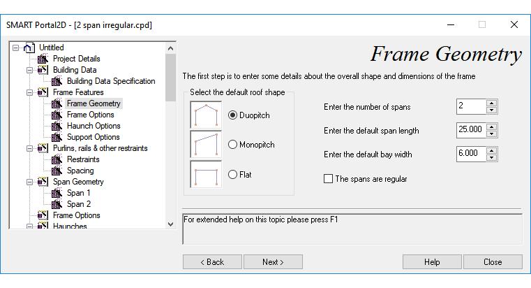 Frame geomerty input