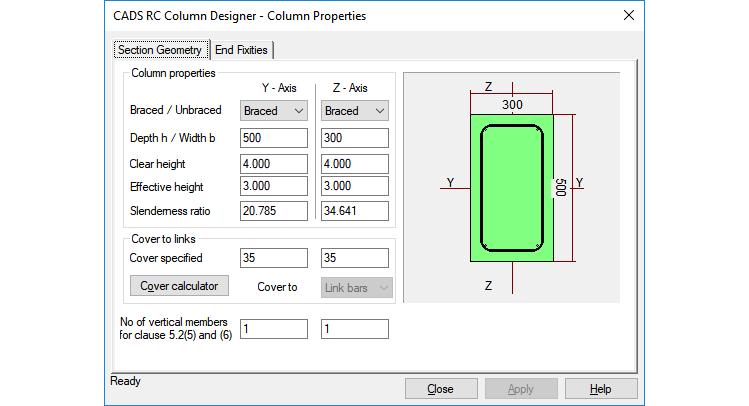 Column properties input