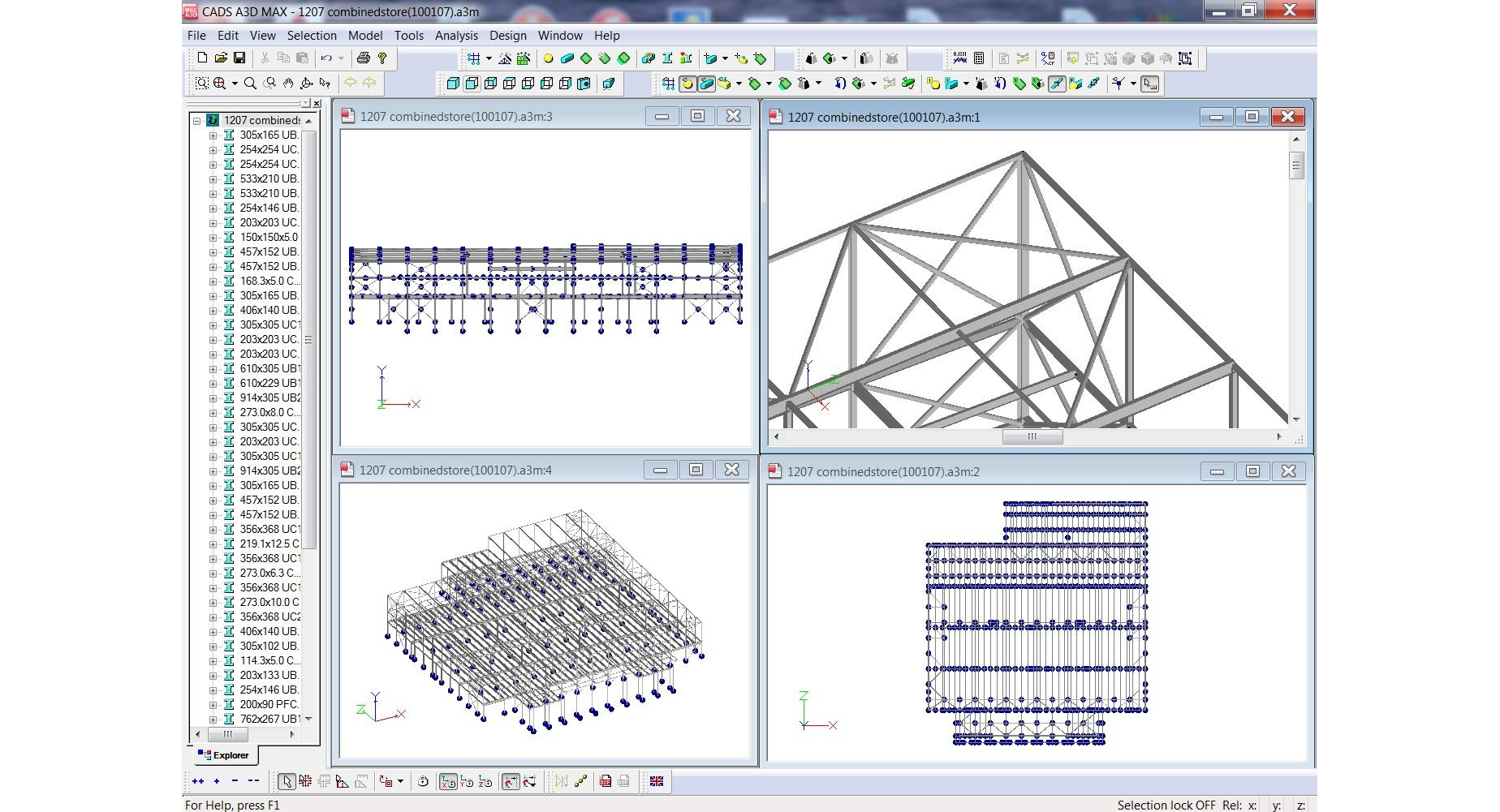 CADS A3D Max – Multiple Views of Steel Warehouse