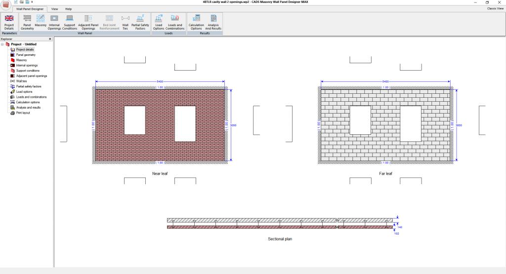 Masonry Wall Panel Designer MAX - main layout