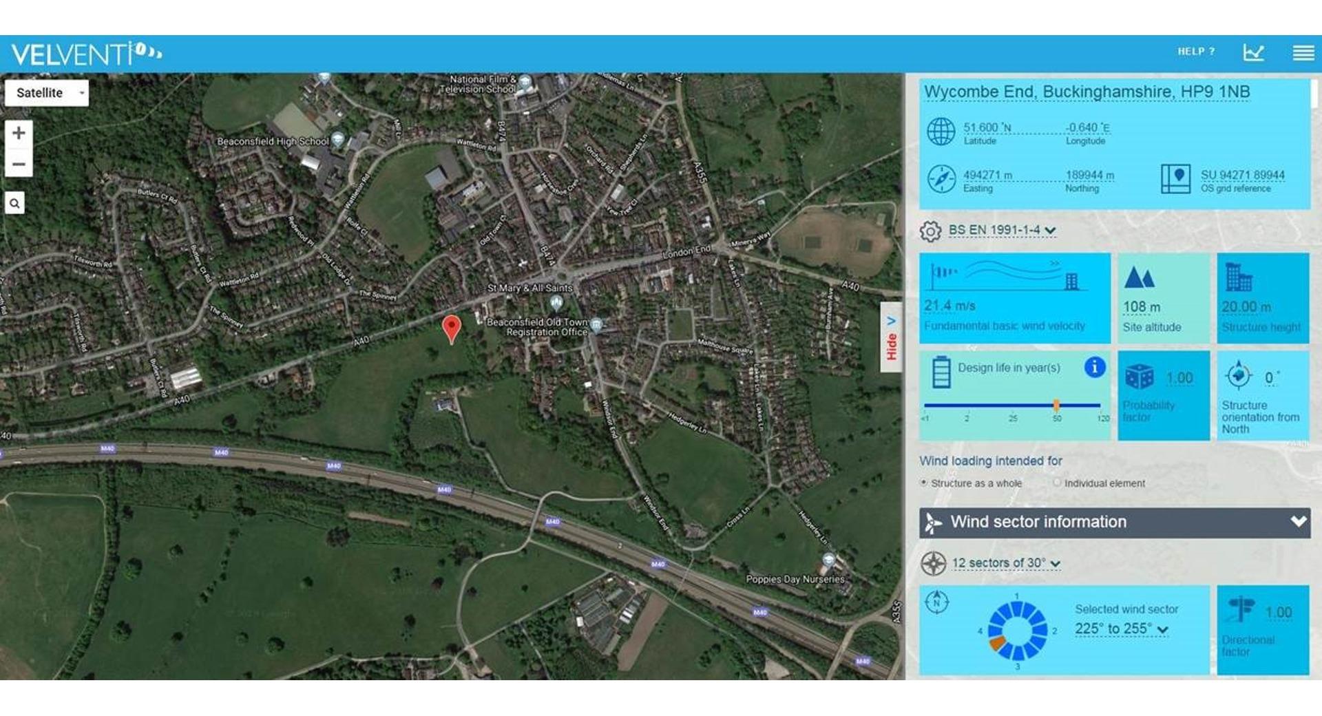 VelVenti wind speed and satellite image