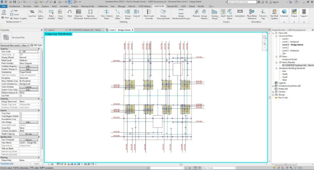 Design intent regions automatically converted to Revit reinforcement and schedule